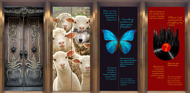 Example images on Olin Library elevator doors