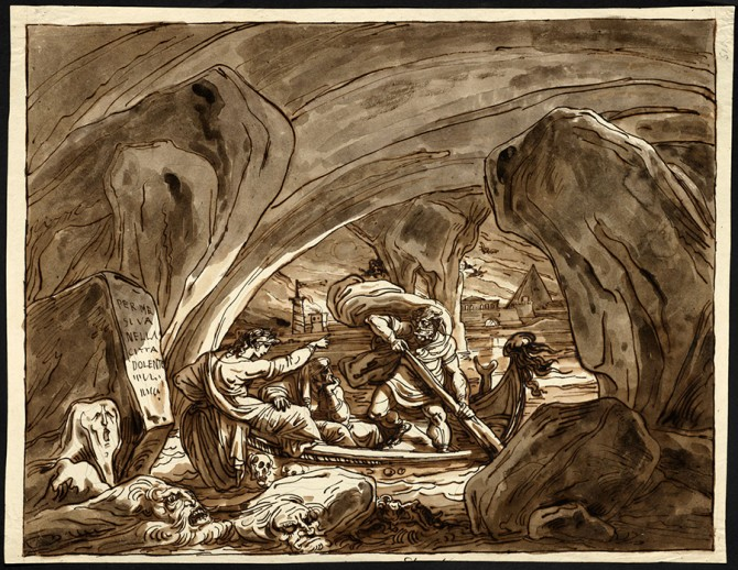 """""""Dante and Virgil in the Bark of Charon, Inferno 3"""" by Felice Giani (Italian, 1758–1823)"""
