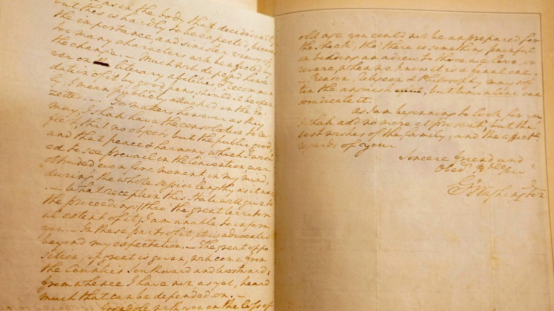 A handwritten letter, dated Oct. 10, 1787, from George Washington to Col. David Humphreys, a close friend and former aide-de-camp. The letter offers Washington's insight into the convention that produced the Constitution of the United States, which was ratified the following year.