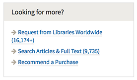 Library Catalog 'Looking for more' box contains links to Libraries Worldwide (WorldCat), Articles and Full Text, and Recommend a Purchase