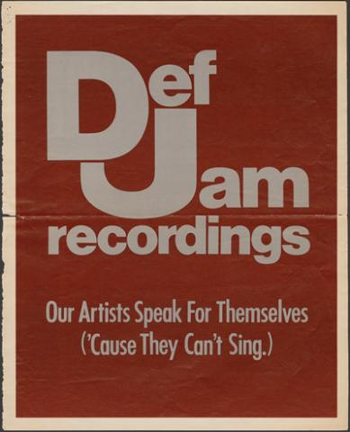 Def Jam's first full-page print advertisement, Billboard Magazine, 1985.